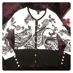 White House Black Market Paisley Cardigan
